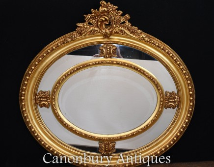 Victorian Oval Mantle Mirror Gilt Frame