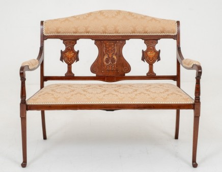 Victorian Rosewood Hall Seat - Inlay Bench Chair 1880