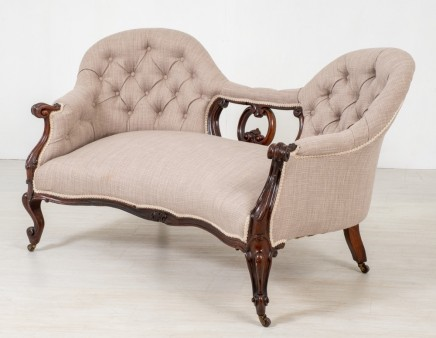 Victorian Settee - Camele Back Rosewood Couch Sofa 1860