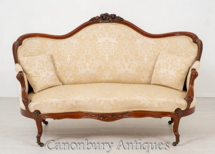 Victorian Settee Mahogany - Antique Carved Couch 1870
