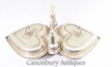 Victorian Silver Plate Heart Food Warmer Serving Dish