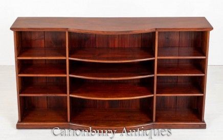 Victorian Triple Open Bookcase - Antique Mahogany Bow Front 1880