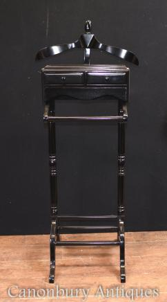 Victorian Valet Black Lacquer Butlers Shirt Trousder Stand