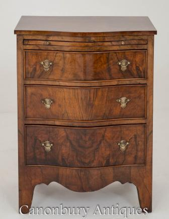 Victorian Walnut Chest of Drawers Serpentine Commode Circa 1900