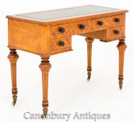 Victorian Writing Table Desk in Satin Birch 1860