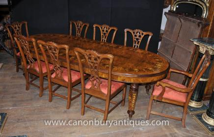 Walnut Victorian Dining Table Chippendale Chair Set Tables Chairs Suite - Dining Sets