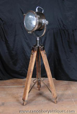 Wood Chrome Tripod Lamp Architectural Spot Light Floor Lamp Lighting
