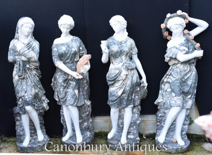 XL Marble Four Seasons Statues - Lifesize Roman Maiden Garden Art Winter Summer