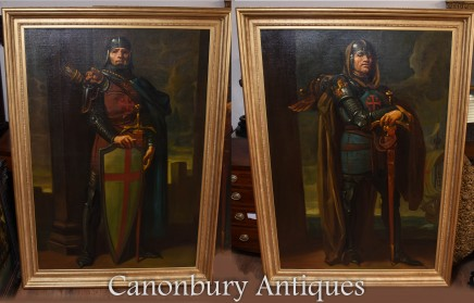XL Oil Paintings Pair Knights Crusaders Potrait Richard Lionheart