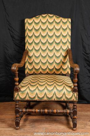 Pair Antique Arm Chairs - French Walnut Fauteils 1920 Interiors