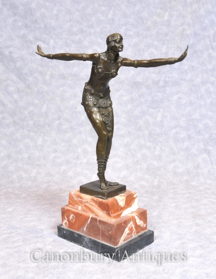 Art Deco Bronze Statue by Chiparus Flapper 1920s Dancer Figurine