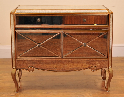 Art Deco Glass Mirrored Chest Drawers Cabinet Credenza