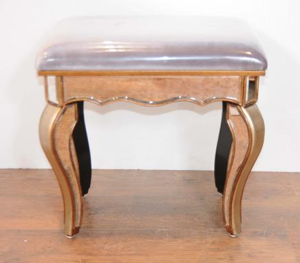 Art Deco Mirrored Stool Seat Bench