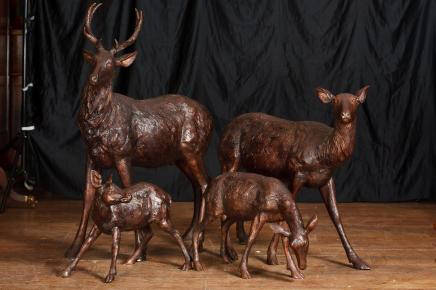 Bronze Lifesize Deer Family Deers Fawns Doe Garden Art
