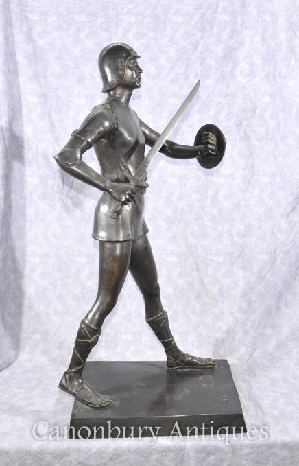 Bronze Roman Gladiator Warrior Signed Gardet