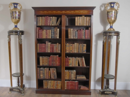 Mahogany  Bookcase -Double English Sheraton Inlay Open Front