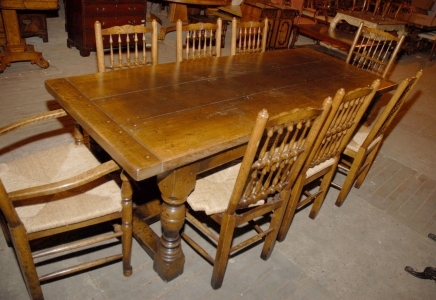 Refectory Table & Set Spindleback Chairs English Farmhouse Abbey