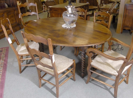 English Barley Twist Refectory Table & Ladderback Chair Set