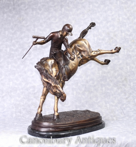 Bronze Polo Player Statue - Horse Jockey Casting