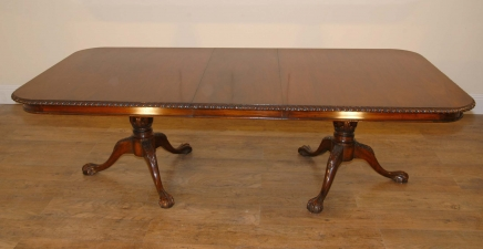 English Carved Mahogany Chippendale Victorian Dining Table