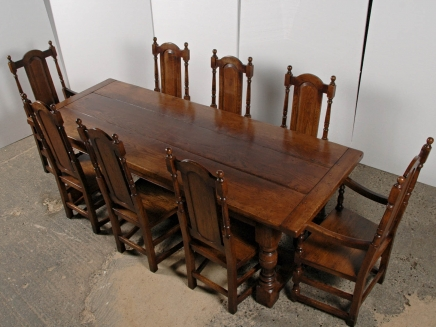 English Gothic Farmhouse Refectory Table Chair Set