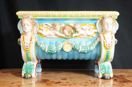 English Majolica Cherub Pottery Planter
