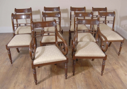 Regency Dining Chairs -  Mahogany Flower Bar