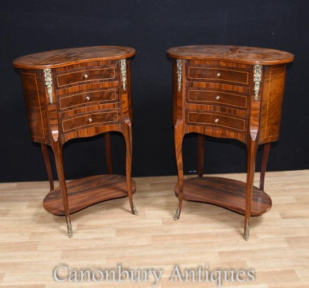 English Regency Kidney Bean Bedside Tables Cabinets