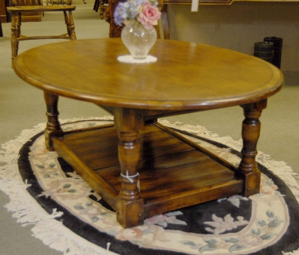 English Rustic Oak Refectory Coffee Table Tables