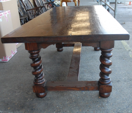 Oak Refectory Table With Barley Twist Legs