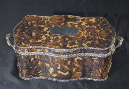 English Silver Plate & Faux Tortoiseshell Tortoise Shell Box