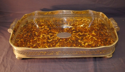 English Silverplate Butlers Tray With Faux Tortoiseshell