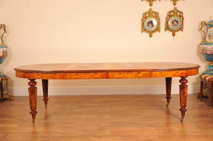 Victorian Dining Table - Extending  Marquetry Inlay Diners