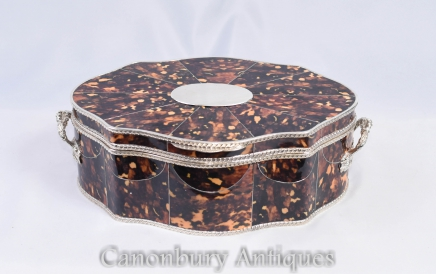 Victorian Silverplate Jewellery Box - Faux Tortoise Shell