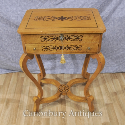 French Art Deco Inlay Blonde Dressing Table Hall Console Tables