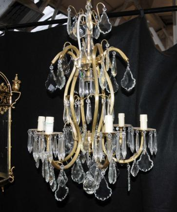 French Art Nouveau Chandelier Ormolu Light Lamp Cut Crystal Glass