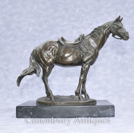 French Bronze Horse Pony Statue Signed Milo
