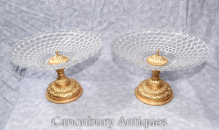 Cut Glass Dish - French Empire Ormolu Comport Stand