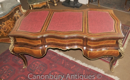French Bombe Partners Desk  Walnut Empire Bureau Table