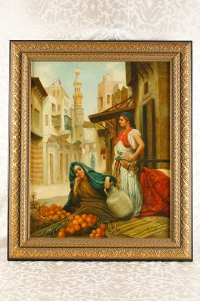German Oil Painting Arab Casbah Female Portrait Porcelain Plaque KPM