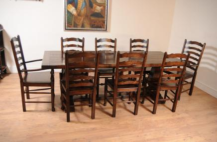 Oak Kitchen Dining Set Ladderback Chairs Refectory Table Suite