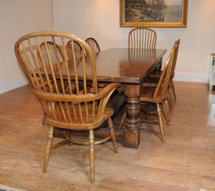 Oak Refectory Table Windsor Chair Set Farmhouse Kitchen