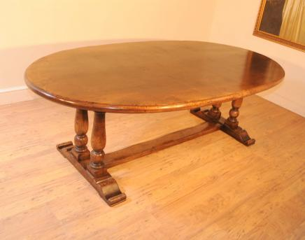 Oval Oak Refectory Table Farmhouse Kitchen Diner Tables