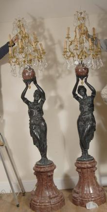 Italian Blackamoor Candelabras - 9ft Female Torcheres