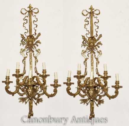 Pair Architectural French Empire Sconces Ormolu Bronze