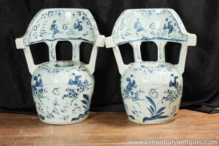 Pair Chinese Nanking Porcelain Chairs Pottery Blue White Ceramic