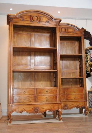 Pair English Oak Farmhouse Bookcases Cabinet