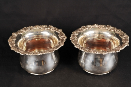 Pair English Silver Plate Planters Bowls Hand Chased