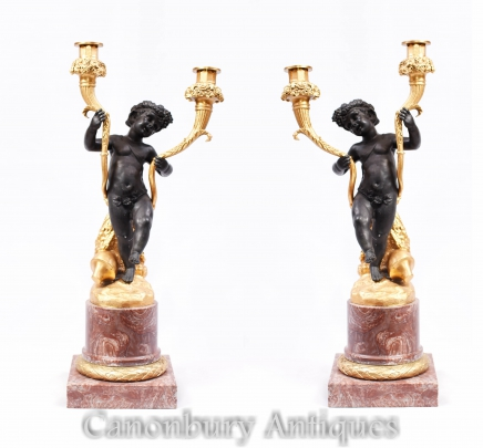 Pair French Bronze Cherub Candelabras Candle Sticks