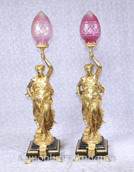 Pair French Ormolu Gregoire Classic Figurine Lamps Lights Torcheres